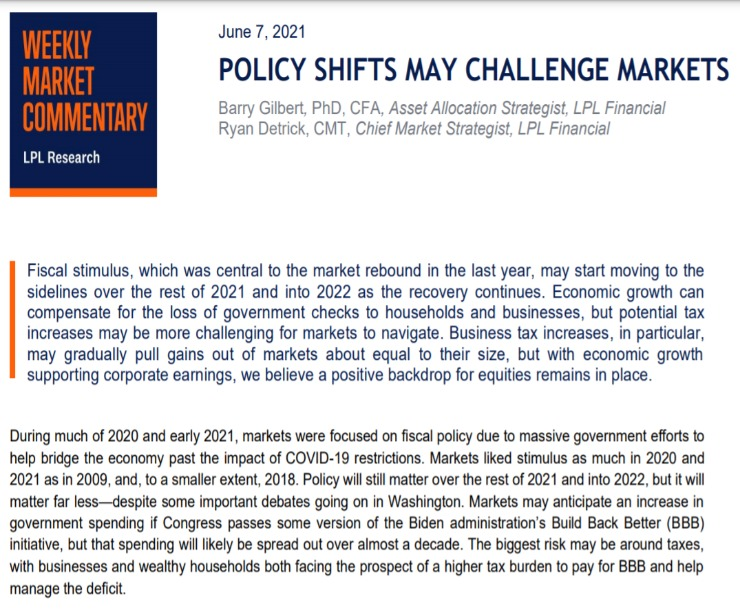 Policy Shifts May Challenge Market | Weekly Market Commentary | June 7,2021